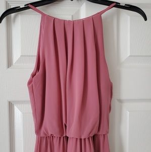 Dusty rose high neck dress